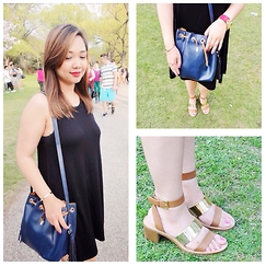 Iza Fugen - Zara Black Dress, Zara Purse, Zara Sandals, Michael Kors Watch, Michael Kors Bracelet - Black Dress and Red Lips