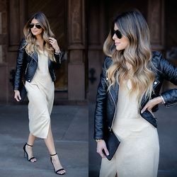 Pam Hetlinger - H&M Moto Jacket, Asos Sweater Dress With Thigh High Slit - Moto Jacket