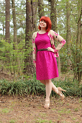 Jamie Rose - Ross Pink Lace Dress, Old Navy Floral Print Cardigan, Xappeal Nude Peeptoe Heels - Hot Pink Lace