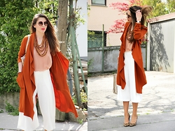 Anita Sookan - Zara Trench Coat, Chunky Wooden Necklace, Zara Culotte Pants, Aldo Leopard Pumps, The Row Round Shades - Beverly Hütteldorf