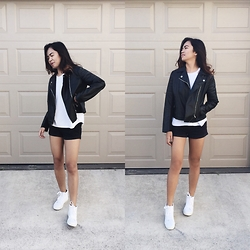 Nloua - Vans All White Sk8 Hi's, Coco Latte Leather Jacket - Can never go wrong with monochrome.