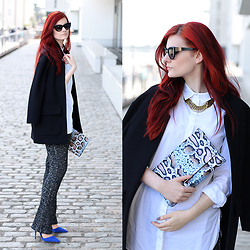 Tia T. - Mango Cat Eye Sunglasses, H&M Oversized Shirt, H&M Clutch, H&M Knit Pants, Primark Boyfriend Blazer, Primark Sandlas - Knit Pants
