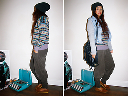Moira Parton - Primark Dark Grey Beanie, River Island Grey Jersey And Denim Jacket, Thrifted Printed Knitted Jumper, Forever 21 Black Shoulder Bag, Dark Brown Harem Trousers, Brown Loafers - 120925 — COLD TYPE