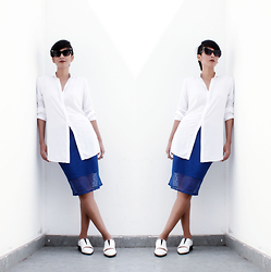 Pri GS - Tbq Blue Skirt, Area White Shoes - Blue Skirt