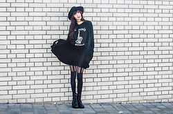 Milkwoman Johana - Choies Top, Ebay Skirt, F&F Sweater, C&A Hat - Another brick in the wall