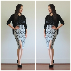 Kimberly Kong - Bcbg Cardigan, Banana Republic Tank, Fevrie Skirt, Deb Shoes - The Printed Pencil