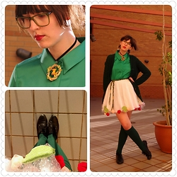 Jennifer Hankin - Home Made Rose Skirt, Jane Lamerton Green Blouse, Thrifted Knitted Cardigan - Rose bush