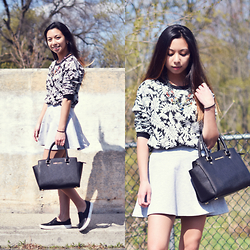 Melanie P. - Macys Printed Jumper, Adidas Skirt, Michael Kors Bag, Airwalk Slip Ons - Stay Cool in Summer Greys