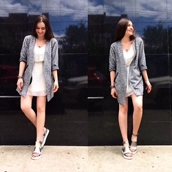 Mariam Argvliani - Forever 21 White Dress, Bcbg Silver Sandals, Uknkown Leopard Jacket - Overdosed by love <3