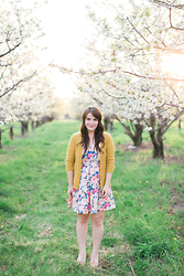 Selective Potential - Modcloth Market Sharing Dress, Agar Mustard Cardigan, Bc Footwear Prepare For Landing Wedges - Blooming blossoms