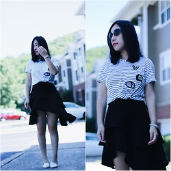 Rachel Li - Zara Tee, H&M Skirt, J Crew Flats - Again, black and white