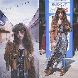 Alexe Bec - Missguided Fringe Jacket, Pink Bells Round Sunglasses, Free People Dress - Coney island
