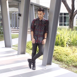 Stephen Garcia - Forever 21 Plaid Button Down, Palladium Boots, Topman Leather Pants - Rugged Appearance