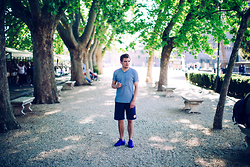 Florian Roser - Adidas Sneakers, Opening Ceremony Shorts, Uniqlo Tee - Shades of Blue
