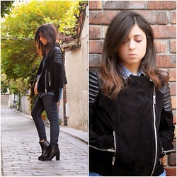 Liana . - Mango Jacket, Zara Jeans, Jonak Booties, Pull & Bear Shirt - Leather in Spring
