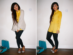 Moira Parton - Black Cross Necklace, Cream Batwing Cardigan, New Look Yellow Button Up Shirt, H&M Black Leggings, Primark Floral Flats - 120928 — YELLOW CROSSING