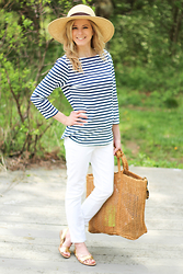 Kim Tuttle - Loeffler Randall Starla, Kiind Of White Pants, Madewell Straw Tote, J.Mclaughlin Wavesong Boatneck Tee, Prima Donna Straw Hat, Topshop Ear Jackets - Stripes with J.Mclaughlin