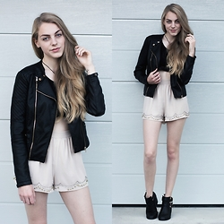 Cropsandsocks - H&M Shorts, Topshop Leather Jacket - Don't You Forget About Me