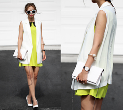 Queen Horsfall - Missguided Monochrome Blazer (Similar), Oasap Sweet Lime Dress, Daniel Wellington - Sleeveless Summer