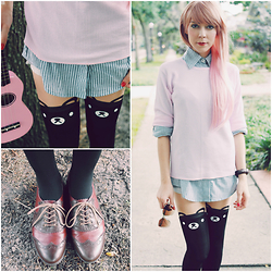 Zuzana - Eshakti Collar Shirt, Choies Bear Tights, Gant Watch - Casual Cutie