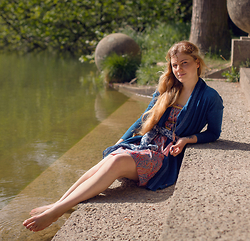Salomé M. - Elpidea Draped Indigo Cardigan, Elpidea Paisley Liberty Dress, Headpiece, Tattly Flower Tatoo - Romantic Lake