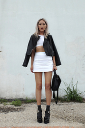 Huyen T - Mango Leather Biker, Alexander Wang Cut Out Sports Bra, Miu Platform Mary Janes - Creami