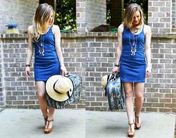Katie Miller - Jealous Tomato Denim Dress, Urban Outfitters Straw Hat, Forever 21 Necklace, Necessary Clothing Wedges - Denim Travels/ freedomofwardrobe.com