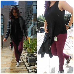 Paula Andrea - Converse, Gef Red Wine Jean, Bkul Mantel, Bkul Motorcycle Jacket - Movie