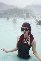 La Carmina - LaCarmina.com - Black Label Goth Pentagram Swimsuit, La Carmina Blog Round Gothic Sunglasses - Goth swimsuit at Blue Lagoon spa & bath in Iceland!