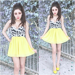 Alisa Sia - Forever 21 Black And White Crop Top, Ebay Yellow Skirt - Lemon Yellow