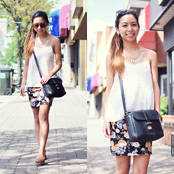 Melanie P. - Sammydress Necklace, H&M Top, Marc By Jacobs Messenger, Forever 21 Floral Skirt - White Before Memorial Day