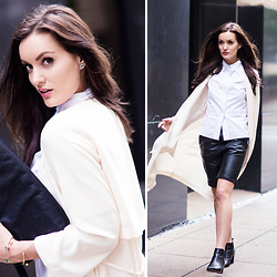 Anouska Proetta Brandon - Shorts, Shirt, Reiss Boots, Coat - Boy shorts in Dallas.