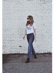 Kirby C - Ray Ban Sunglasses, Chrldr T Shirt, Zara Jeans, Isabel Marant Ankle Boots - Merci.