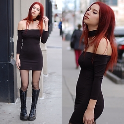 Ashley Laderer - Style Moi Choker Little Black Dress, Leg Avenue Fishnet Stockings, Dr. Martens Britain Combat Boots - LITTLE BLACK DRESS JUST WALKED INTO THE ROOM