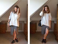 Helen Hird - Zara Oversized Jumper, Topshop Wrap Skirt, Topshop Cut Out Boots - DATE NIGHT