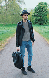 Boris Mcdonaty - All Saints Lance Boots, All Saints Finis Stripe Crew, Topman Leather Bag - To Love & Die