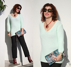 Teresa Leite - Mango Scarab Necklace (Old), Zara Mint Green Sweater (Old), Parfois Piton Print Clutch, Michael Kors Golden Watch, Zara Burgundy Lace Up Bootoes - Lucky Scarab