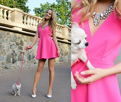 Adela K - Oasap Pink Barbie Dress, Happiness Boutique Snow White Statement Neckalce - Legally Blonde