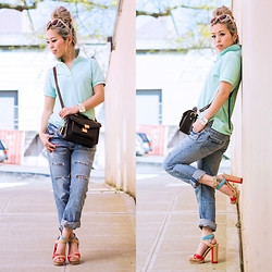 Aika Y - Uniqlo Polo Shirt, Vince Camuto Platform Sandals, Vivayou Boyfriend Jeans, Forever 21 Sunnies - #UniqloLifewear Mint Polo