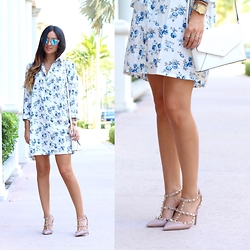 Macarena Ferreira - Missguided Dress, Valentino Pumps, Kate Spade Bag, Nasty Gal Sunglasses, Rolex Watch - Florals.