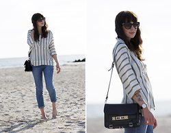 Ricarda Schernus - H&M Striped Chiffon Blouse, Asos Mom Jeans Medium Wash, Proenza Schouler Ps11 Bag, Daniel Wellington Classic Sheffield Lady Watch, Prada Sunglasses - Casual At The Baltic Sea