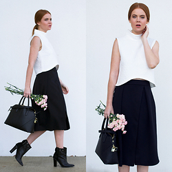 Kiara King - Huntr High Neck Crop Top, Asos Midi Skirt, Zara Tote, Tibi Boots - Embracing Minimalist Sports Luxe
