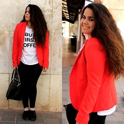 "Belén Serrano - Stradivarius Red Blazer, New Yorker ""But First, Coffee"" Top, H&M Leggins, Ulanka Creepers - Red."