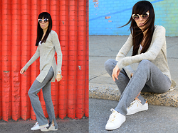 Lovelyimperfect by Adriana Kubieniec - Urban Outfitters Sunglasses By, Zara Sweater By, Zara Pants By, Michael Kors Sneakers By - White sneakers, NYC