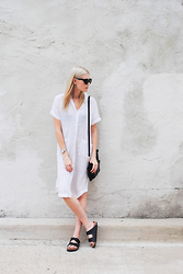 Blair B - Aritzia Dress, Birkenstock Sandals - BLANC