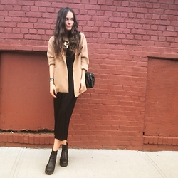 Mariam Argvliani - Forever 21 Blavk Maxi Dress, Steve Madden Boots, Forever 21 Creme Brulee Blazer, Guess? Small Black Bag - Maxi dress is love <3