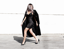 Chrystelle - Fortnight Lingerie Mira Slip, Tony Bianco Lovett, H&M Coat - Stay Schemin'
