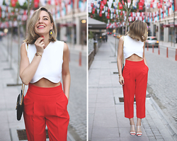 My Showroom Priscila - Anton Heunis Earrings, Asos Shoes, Zara Pants, Zara Top, Ysl Bag - Red Pants