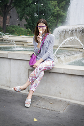 Tina Gallo - Annarita N Flower Pants, Zara Sparkling Flatforms, French Connection Uk Bicolor Bag - ICE CREAM