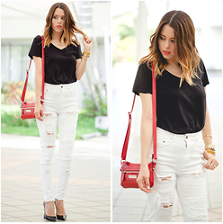 Raquel Cañas - H&M Ripped Jeans, Kenneth Cole Red Bag - LOVE FOR WHITE